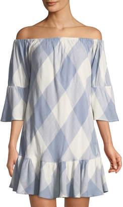 Tularosa Sara Check Off-the-Shoulder Mini Dress