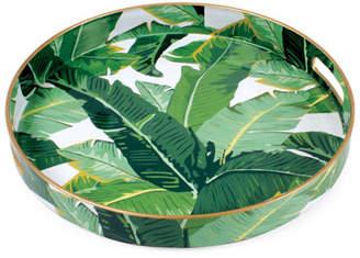 8 Oak Lane Botanical Leaf Print Round Plastic Tray