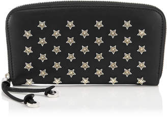 Jimmy Choo FILIPA Black Satin Leather Wallet with Silver and Gold Bicolour Star Studs
