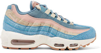Nike Air Max 95 Calf Hair, Suede And Mesh Sneakers - Blue