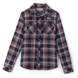 PETROL INDUSTRIES Long-Sleeved Printed Checked Shirt, 8-16 Years