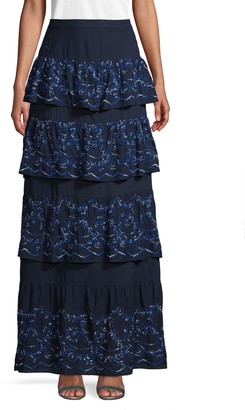 BCBGMAXAZRIA Eyelet Long Tiered Skirt