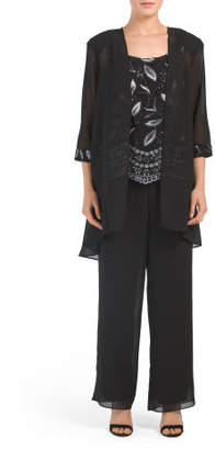 3pc Pant Suit With Embroidered Top