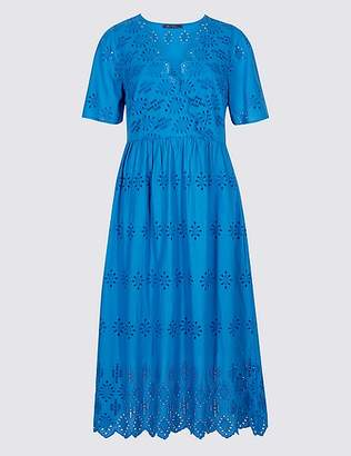 Marks and Spencer Pure Cotton Broderie Skater Midi Dress
