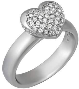 Swarovski Rhodium Plated Crystal Heart Ring