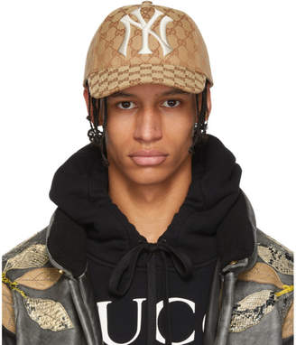 49a5500fa Gucci Brown NY Yankees Edition GG Supreme Patch Cap