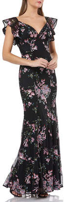 Carmen Marc Valvo Sequin Floral-Motif Flutter-Sleeve Gown