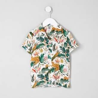 River Island Mini boys cream leaf short sleeve shirt
