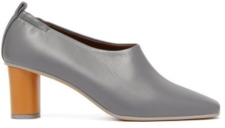 Gray Matters - Micol Block Heel Leather Pumps - Womens - Slate Grey Brown