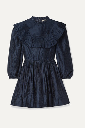 Ulla Johnson Whitley Pleated Printed Cotton And Silk-blend Organza Mini Dress - Midnight blue