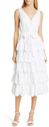 Rebecca Taylor Mirlle Embroidered Tiered Cotton Midi Dress