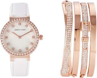 Adrienne Vittadini ADST1582R165 Rose Gold-Tone Watch & Bracelet Set