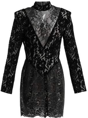 Christopher Kane Patchwork Flocked Velvet Lace Mini Dress - Womens - Black