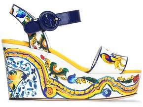 Dolce & Gabbana Printed Patent-Leather Platform Wedge Sandals