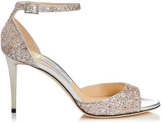 f0e595d0e32 Jimmy Choo ANNIE 85 Viola Mix Speckled Glitter Peep Toe Sandals