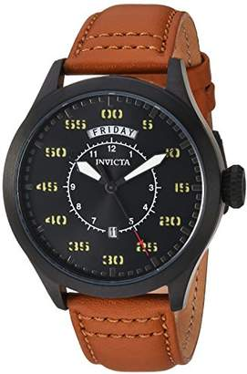 Invicta Men's 'Aviator' Quartz Stainless Steel and Leather Casual Watch