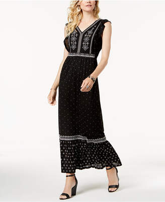 Style&Co. Style & Co Embroidered Printed Maxi Dress