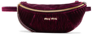 Miu Miu Convertible Matelassé Velvet Belt Bag - Burgundy
