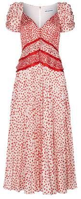 Self-Portrait Pleated Chiffon Midi Dress