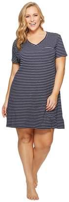 Nautica Plus Size Striped Sleepshirt Women's Pajama