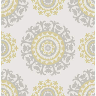 WallPops! Grey and Yellow 18' x 20.5 Suzani Peel And Stick Wallpaper Roll