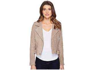 Blank NYC Suede Moto Jacket in Sand Stoner