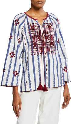 Figue Nikita Striped Embroidered Peasant Top
