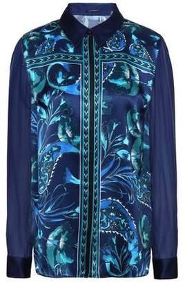 Elie Tahari Ingunn Georgette-paneled Printed Silk-satin Shirt