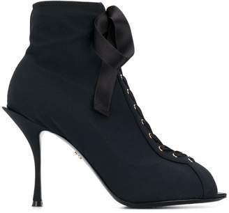 Dolce & Gabbana lace-up peep toe sandal boots