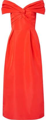 Carolina Herrera Off-the-shoulder Knotted Silk-faille Midi Dress - Red
