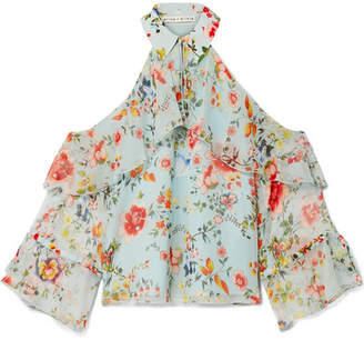 Alice + Olivia Alice Olivia - Blayne Cold-shoulder Floral-print Silk-voile Blouse - Light blue