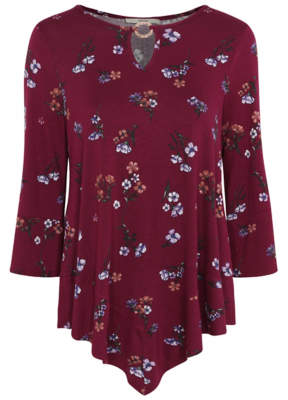 George Burgundy Floral Metalwork Asymmetric Tunic