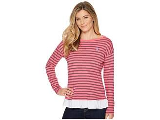 U.S. Polo Assn. Stripe Knit Shirt with Peplum Women's Clothing