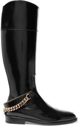Lanvin Embellished Glossed-Leather Boots