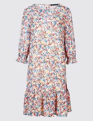 Marks and Spencer Floral Print 3/4 Sleeve Tunic Dress