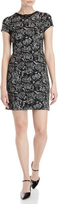 Karl Lagerfeld Paris Chain Neck Rose Jacquard Dress
