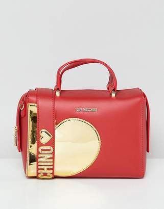 Love Moschino Gold Heart Handle Bag With Strap