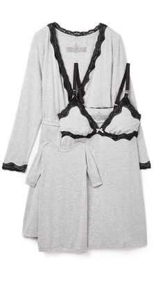 Rosie Pope Nursing Slip, Wrap & Baby Gown Set $144 thestylecure.com