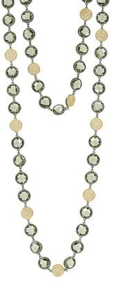 Freida Rothman Rose d'Or Brilliance 14K Yellow Gold & Black Rhodium Plated Pave CZ Long Strand Necklace