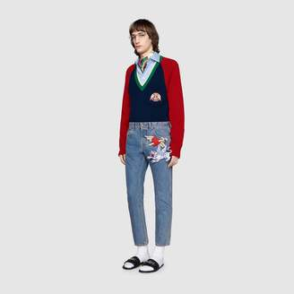 Gucci V-neck wool jumper with lyre