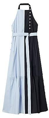 Tibi Women's Colorblock Halter Tiered Midi Dress