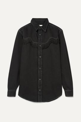 Ganni Kress Fringed Denim Shirt - Black