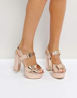 Qupid Platform High Shine Metallic Sandal