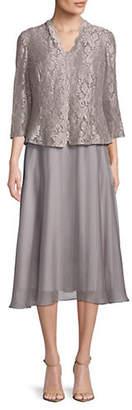 Alex Evenings Two-Piece Lace Jacket Knee-Length Dress Set