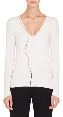 Akris Marble Mesh Cashmere Blend V-Neck Sweater