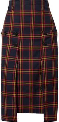 Rokh - Pleated Chiffon-paneled Checked Twill Skirt - Navy