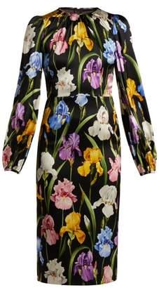 Dolce & Gabbana Iris Print Midi Dress - Womens - Black Multi