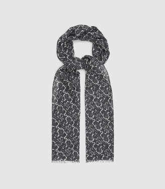 Reiss ROSS WOOL PAISLEY SCARF Ecru