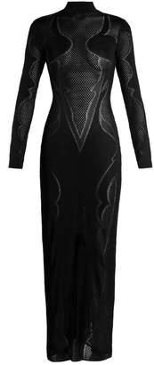 High-neck knit maxi dress