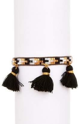Zacasha Multi Color Beaded & Black Tassel Bracelet